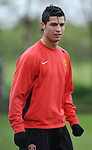 Cristiano Ronaldo of Manchester United during training before the champions league fixture against Barcelona. Picture date 28th April 2008. Picture credit should read: Simon Bellis/Sportimage