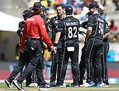 3rd February 2019, Westpac Stadium, Wellington, New Zealand;5th ODI Cricket International  match, New Zealand versus India;  Black Caps Matt Henry celebrates his wicket of India's Rohit Sharma
