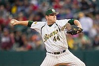 Baylor Bears pitcher Sean Spicer (44) delivers a pitch to the plate during the NCAA baseball game against the LSU Tigers on March 7, 2015 in the Houston College Classic at Minute Maid Park in Houston, Texas. LSU defeated Baylor 2-0. (Andrew Woolley/Four Seam Images)
