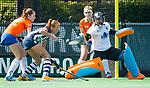 BLOEMENDAAL - Hockey- competitiewedstrijd Bloemendaal MA1-HDM MA1 . keeper Danique Visser.   COPYRIGHT KOEN SUYK