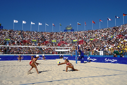 21 September 2000: German Danja Musch (GER) passes against Brazil during the Women's Doubles Beach Volleyball at Bondi Beach, Sydney 2000 Olympic Games, Australia, 000921. Photo: Glyn kirk/action plus...Olympics women woman girls girls girl's volley ball player passing
