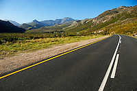 Rural road in the mountains between Stellenbosch and Franschhoek, South Western Cape, South Africa.