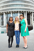 NZ Shark Alliance Youth Ambassador Taylor Finderup after handing conservation Minister Nick Smith and Primary Industries Minister Nathan Guy some of the 78,000 pledges made in support of a ban on the practice of shark finning. Taylor is pictured with Forest & Bird marine conservation advocate Katrina Subedar (left) and WWF marine species advocate Milena Palka at Parliament Buildings, Wellington, New Zealand on Thursday, 5 December 2013 Photo: Dave Lintott / lintottphoto.co.nz
