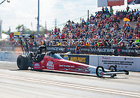 Sep 29, 2019; Madison, IL, USA; NHRA top fuel driver Doug Kalitta during the Midwest Nationals at World Wide Technology Raceway. Mandatory Credit: Mark J. Rebilas-USA TODAY Sports