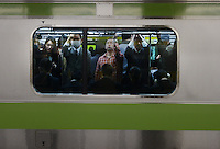 Passengers on a train in Shinjuku Station, Tokyo, Japan.  With up to 4 million passengers passing through it every day, Shinjuku Station, Tokyo, Japan, is the busiest train station in the world. The station was used by an average of 3.64 million people per day.  That&rsquo;s 1.3 billion a year.  Or a fifth of humanity. Shinjuku has 36 platforms, and connects 12 different subway and railway lines.  Morning rush hour is pandemonium with all trains 200% full. <br /> <br /> Photo by Richard jones / sinopix