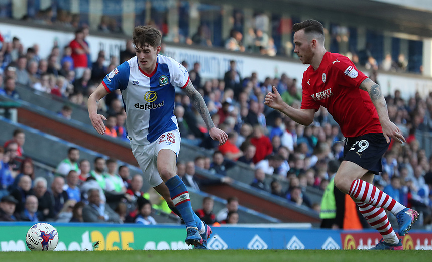 Blackburn Rovers' Connor Mahoney and Barnsley's Gethin Jones<br /> <br /> Photographer Rachel Holborn/CameraSport<br /> <br /> The EFL Sky Bet Championship - Blackburn Rovers v Barnsley - Saturday 8th April 2017 - Ewood Park - Blackburn<br /> <br /> World Copyright &copy; 2017 CameraSport. All rights reserved. 43 Linden Ave. Countesthorpe. Leicester. England. LE8 5PG - Tel: +44 (0) 116 277 4147 - admin@camerasport.com - www.camerasport.com