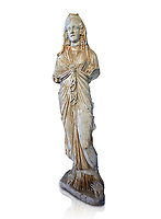 Roman statue of Priestess of Isis,  2nd century AD from Hierapolis. Hierapolis Archaeology Museum, Turkey. Against an white background