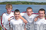WORKMEN: Brendan Joy, Kareem Qasim, Jamie Sheehan and Paul Sheehan from Workmens Rowing Club having a great time at Callinafercy Regatta last Sunday..