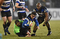 Darren Atkins of Bath Rugby is tackled to ground. Anglo-Welsh Cup Semi Final, between Bath Rugby and Northampton Saints on March 9, 2018 at the Recreation Ground in Bath, England. Photo by: Patrick Khachfe / Onside Images