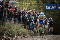Later race winner Kim Van de Steene (BEL/Tarteletto Isorex) up the Koppenberg. <br /> <br /> <br /> women's race.<br /> Koppenbergcross Belgium 2018