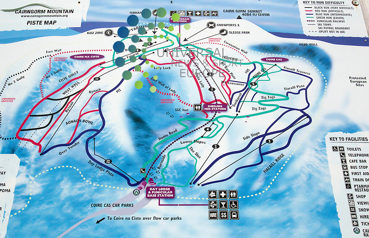 The Cairngorm Mountain Piste Maps, Cairngorm Mountain Ranger Service is continuing to advise walkers and climbers.<br /> Picture: Universal News And Sport (Europe) 16 October  2014.