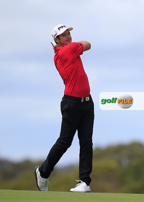 Julien Quesne (FRA) on the 18th during Round 3 of the ISPS HANDA Perth International at the Lake Karrinyup Country Club on Saturday 25th October 2014.<br /> Picture:  Thos Caffrey / www.golffile.ie
