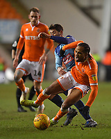 Blackpool's Nathan Delfouneso is fouled by  Wycombe Wanderers' Joe Jacobson<br /> <br /> Photographer Dave Howarth/CameraSport<br /> <br /> The EFL Sky Bet League One - Blackpool v Wycombe Wanderers - Tuesday 29th January 2019 - Bloomfield Road - Blackpool<br /> <br /> World Copyright © 2019 CameraSport. All rights reserved. 43 Linden Ave. Countesthorpe. Leicester. England. LE8 5PG - Tel: +44 (0) 116 277 4147 - admin@camerasport.com - www.camerasport.com