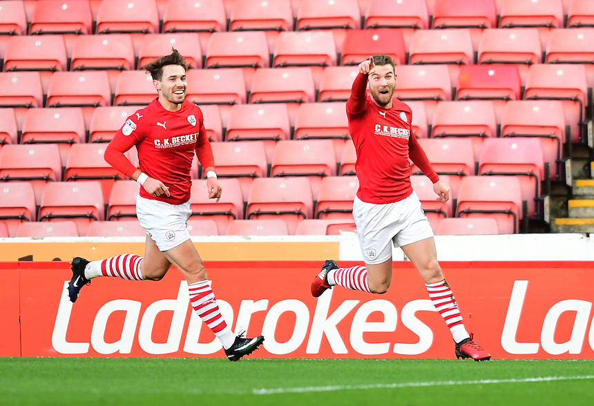 Barnsley's Sam Winnall, right, celebrates scoring the opening goal <br /> <br /> Photographer Chris Vaughan/CameraSport<br /> <br /> The EFL Sky Bet Championship - Barnsley v Blackburn Rovers - Monday 26th December 2016 - Oakwell Stadium - Barnsley<br /> <br /> World Copyright &copy; 2016 CameraSport. All rights reserved. 43 Linden Ave. Countesthorpe. Leicester. England. LE8 5PG - Tel: +44 (0) 116 277 4147 - admin@camerasport.com - www.camerasport.com