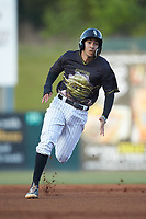 Laz Rivera (13) of the Kannapolis Intimidators hustles towards third base against the Hagerstown Suns at Kannapolis Intimidators Stadium on May 4, 2018 in Kannapolis, North Carolina.  The Intimidators defeated the Suns 11-0.  (Brian Westerholt/Four Seam Images)
