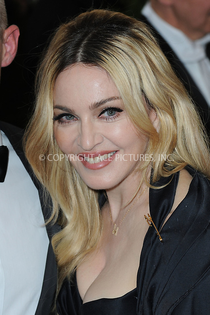 WWW.ACEPIXS.COM<br /> May 4, 2015...New York City<br /> <br /> Madonna attending the Costume Institute Benefit Gala  celebrating the opening of China: Through the Looking Glass at The Metropolitan Museum of Art on May 4, 2015 in New York City.<br /> <br /> Please byline: Kristin Callahan<br /> ACEPIXS.COM<br /> Tel# 646 769 0430<br /> e-mail: info@acepixs.com<br /> web: http://www.acepixs.com