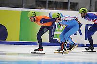 SHORTTRACK: DORDRECHT: Sportboulevard Dordrecht, 23-01-2015, ISU EK Shorttrack, Sjinkie KNEGT (NED | #51), Matej FILIP (SVK | #67), ©foto Martin de Jong