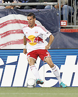 New York Red Bulls forward Sebastien Le Toux (9) dribbles. Despite a red-card man advantage, in a Major League Soccer (MLS) match, the New England Revolution tied New York Red Bulls, 1-1, at Gillette Stadium on September 22, 2012.