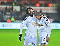 Pictured: Friday 26 December 2014<br /> Re: Premier League, Swansea City FC v Aston Villa at the Liberty Stadium, Swansea, south Wales, UK.<br /> <br /> Ashley Williams and Wilfried Bony leaving the field