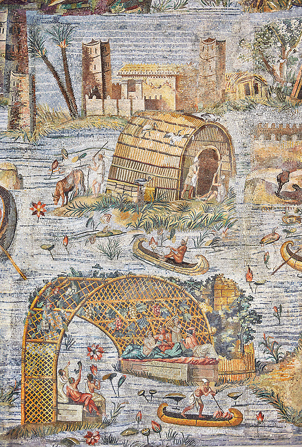 Detail picture of a houses by the flooded Nile  from the famous Hellenistic Roman Nilotic landscape Palestrina Mosaic or Nile mosaic of Palestrina 1st or 2nd century BC. Museo Archeologico Nazionale di Palestrina Prenestino  (Palestrina Archaeological Museum), Palestrina, Italy.