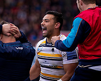 Worcester's Ben Te'o celebrates at the final whistle<br /> <br /> Photographer Bob Bradford/CameraSport<br /> <br /> Gallagher Premiership - Bristol Bears v Worcester Warriors - Saturday 23rd March 2019 - Ashton Gate - Bristol<br /> <br /> World Copyright © 2019 CameraSport. All rights reserved. 43 Linden Ave. Countesthorpe. Leicester. England. LE8 5PG - Tel: +44 (0) 116 277 4147 - admin@camerasport.com - www.camerasport.com