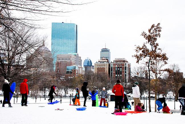 People sledding. Boston Common, MA