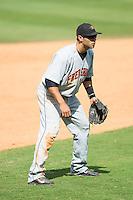 Frederick Keys third baseman Jason Esposito (11) on defense against the Winston-Salem Dash at BB&T Ballpark on May 18, 2014 in Winston-Salem, North Carolina.  The Dash defeated the Keys 7-6.  (Brian Westerholt/Four Seam Images)