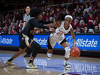 Stanford, CA - January 24, 2020: Kiana Williams at Maples Pavilion. The Stanford Cardinal defeated the Colorado Buffaloes in overtime, 76-68.