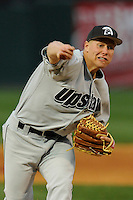 Pitcher Josh Howard (14) of the USC Upstate Spartans delivers in a game against the Furman University Paladins on Tuesday, March 4, 2013, at Fluor Field at the West End in Greenville, South Carolina. Furman won, 13-1. (Tom Priddy/Four Seam Images)