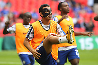 Pedro of Chelsea warms up pre-match wearing a protective mask during Arsenal vs Chelsea, FA Community Shield Football at Wembley Stadium on 6th August 2017