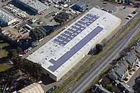 aerial above solar powered warehouse  Hayward, California San Francisco bay area