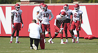 NWA Democrat-Gazette/J.T. WAMPLER The wide receivers run drills Monday August 6, 2018 during practice at the University of Arkansas in Fayetteville.