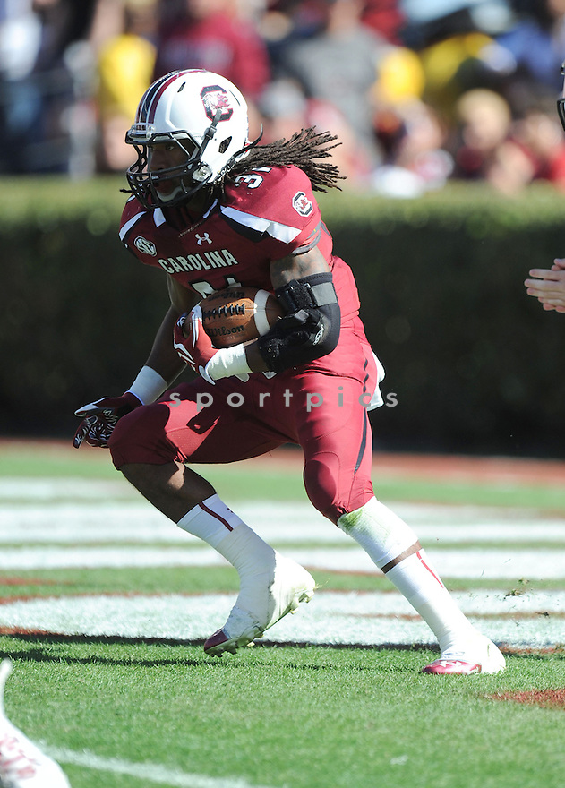 South Carolina Gamecocks Kenny Miles (31) in action during a game against Arkansas on November 10, 2012 at Williams-Brice Stadium in Columbia, SC. South Carolina beat Arkansas 38-20.