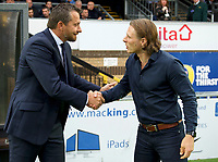 Manager Slavisa Jokanovic of Fulham (left) and Manager Gareth Ainsworth of Wycombe Wanderers shake hands before  the Carabao Cup match between Wycombe Wanderers and Fulham at Adams Park, High Wycombe, England on 8 August 2017. Photo by Alan  Stanford / PRiME Media Images.