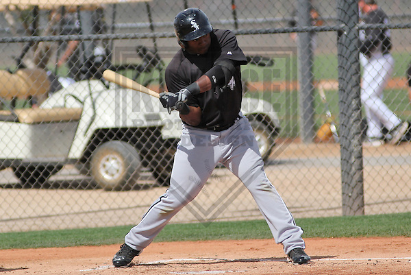 GLENDALE - March 2013: Courtney Hawkins (10)  of the Chicago White Sox during a Spring Training intrasquad game on March 21, 2013 at Camelback Ranch in Glendale, Arizona.  (Photo by Brad Krause). .