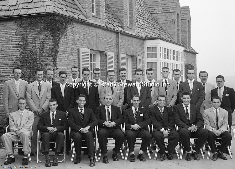 Pittsburgh PA:  View of the Caddies receiving college scholarships from the Western Pennsylvania Golf Association's Caddie Welfare Foundation for year 1956.  The Foundation was managed by Fidelity Trust Company and scholarships are agreed upon by the WPGA executive committee. This dinner was held at the Longue Vue Country Club in Penn Hills and the assignment was for Charles K. Robinson. The mission of the WPGA are to sanction championships, establish handicapping and rate area golf courses.
