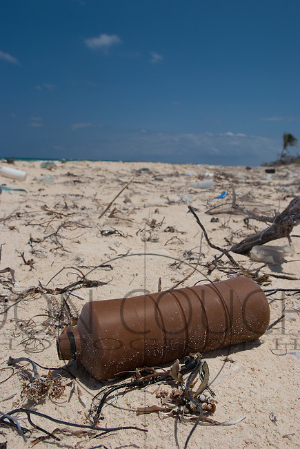 Plastic trash washed ashore on a beach near Tulum, Mexico.