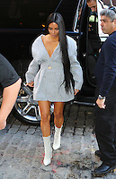 www.acepixs.com<br /> <br /> February 14 2017, New York City<br /> <br /> Kim Kardashian rocks a shirt dress and white boots as she left her downtown apartment and visited a hotel on February 14 2017 in New York City<br /> <br /> <br /> <br /> <br /> By Line: Zelig Shaul/ACE Pictures<br /> <br /> <br /> ACE Pictures Inc<br /> Tel: 6467670430<br /> Email: info@acepixs.com<br /> www.acepixs.com