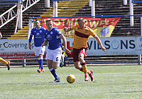 Allan Campbell being pursued by Dan Pybus in the SPFL Betfred League Cup group match between Queen of the South and Motherwell at Palmerston Park, Dumfries on 13.7.19.