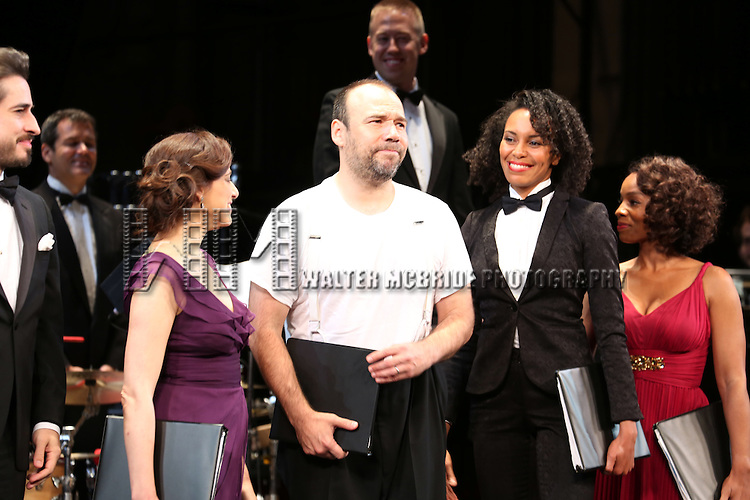 NEW YORK, NY - July 10, 2013: Matthew Saldivar, Judy Kuhn, Eisa Davis and Anika Noni Rose with Conductor Chris Fenwick in the background during the Opening Night Curtain Call for 'The Cradle Will Rock' , New York City Center?s new Encores! Off-Center Series.