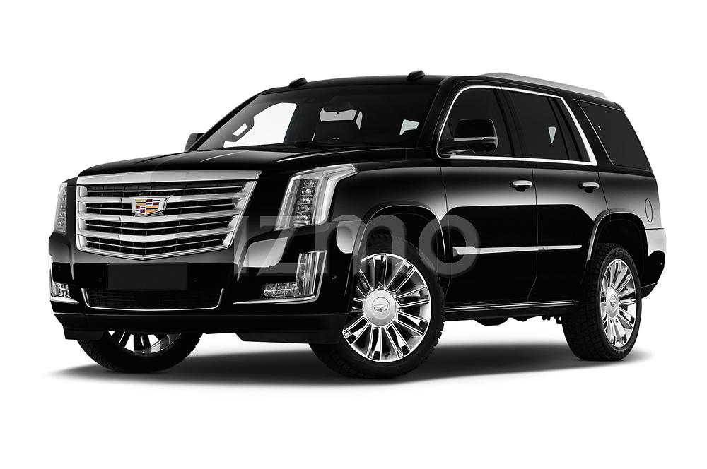 Stock pictures of low aggressive front three quarter view of 2019 Cadillac Escalade Platinum 5 Door SUV Low Aggressive