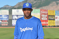 Wascar Teodo (27) of the Ogden Raptors poses for a photo during media day on June 14, 2014 at Lindquist Field in Ogden, Utah. (Stephen Smith/Four Seam Images)