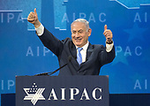 Prime Minister Benjamin Netanyahu of Israel speaks at the American Israel Public Affairs Committee (AIPAC) 2018 Policy Conference at the Washington Convention Center in Washington, DC on Tuesday, March 6, 2018.<br /> Credit: Ron Sachs / CNP