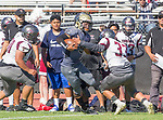 Palos Verdes, CA 09-07-18 - Ethan Gretzinger (Peninsula #5), Diego Meraz (Torrance #33) and Skyler York (Torrance #60) in action during the Torrance - Palos Verdes Peninsula Varsity football game.
