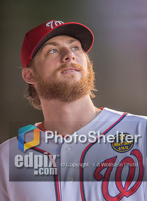 20 September 2013: Washington Nationals pitcher Ross Detwiler looks out from the dugout prior to a game against the Miami Marlins at Nationals Park in Washington, DC. The Nationals shut out the Marlins 8-0 to take the second game of their 4-game series. Mandatory Credit: Ed Wolfstein Photo *** RAW (NEF) Image File Available ***