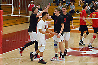 STANFORD, CA - January 2, 2018: Eric Beatty, Evan Enriques, Leo Henken, Stephen Moye at Burnham Pavilion. The Stanford Cardinal defeated the Calgary Dinos 3-1.