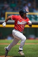 Great Lakes Loons second baseman Willie Calhoun (3) runs to first during a game against the Clinton LumberKings on August 16, 2015 at Ashford University Field in Clinton, Iowa.  Great Lakes defeated Clinton 3-2 in ten innings.  (Mike Janes/Four Seam Images)