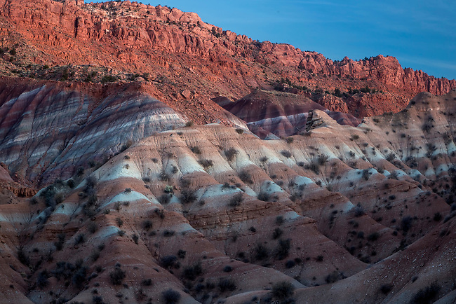 Colorful clay beds are produced through the leeching of minerals over time in the Grand Staircase Escalante National Monument