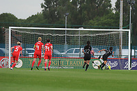 Laura O'Sullivan of Wales Women's' saves Sarah Gregorius of New Zealand Women's penalty during the Women's International Friendly match between Wales and New Zealand at the Cardiff International Sports Stadium in Cardiff, Wales, UK. Tuesday 04 June, 2019