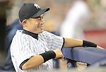 Ichiro Suzuki (Yankees),.APRIL 26, 2013 - MLB :.Ichiro Suzuki of the New York Yankees smiles in the dugout during the baseball game against the Toronto Blue Jays at Yankee Stadium in The Bronx, New York, United States. (Photo by AFLO)